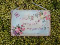 I'm in the Garden Butterfly Rustic Sign  + Add Your Own Text from Honeymellow