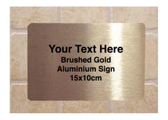 Personalise Metal Custom Made Brushed Silver, Gold or White Signs at Honeymellow.