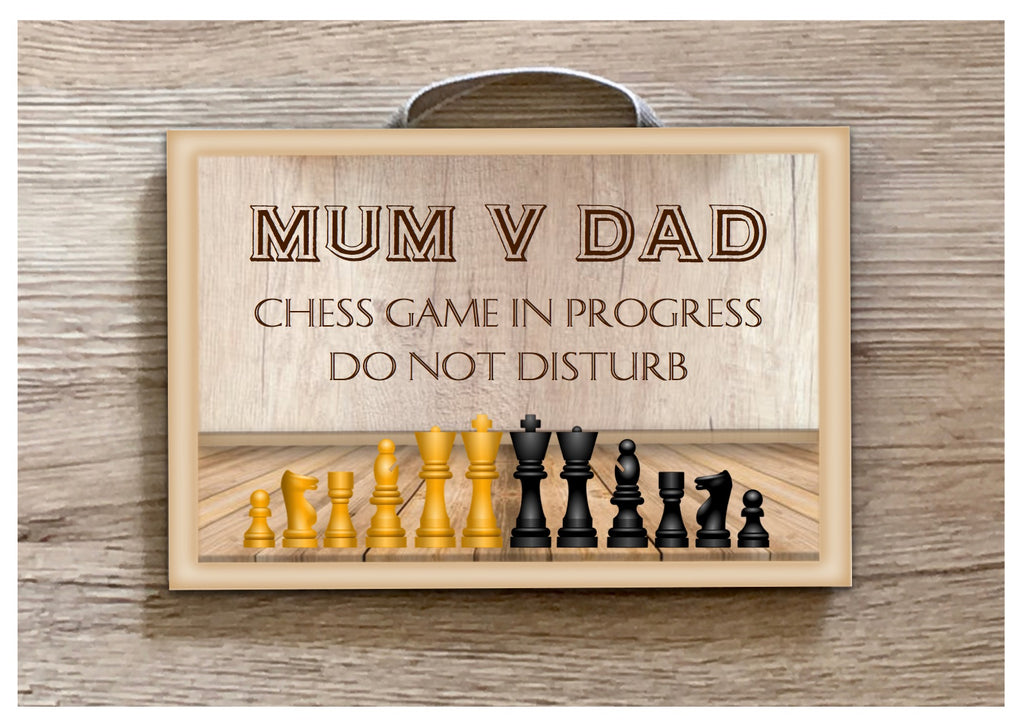 Playing Chess Do Not Disturb Personalised Sign Custom Made at www.honeymellow.com