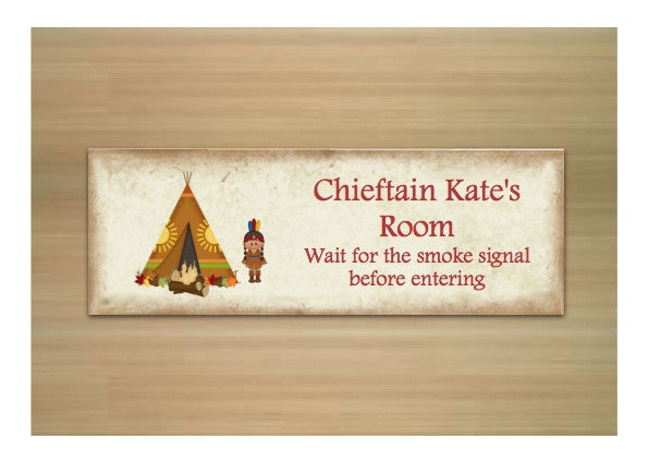 Chieftan Camping Themed Child's Door Sign Personalised by Honeymellow