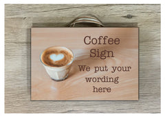 Coffee quote sign.  Add your text to our wood or metal handmade plaque at www.honeymellow.com