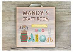 Handmade Personalised Craft Room or Art Room Sign in wood or metal at www.honeymellow.com