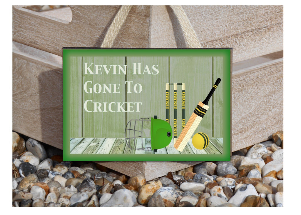 Gone to Play Cricket Large Custom-Made Metal or Wood Hanging Sign at Honeymellow