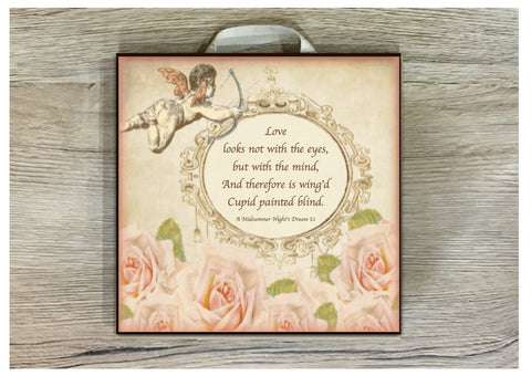 Cupid & Roses Shabby Chic Custom Made Personalised Sign