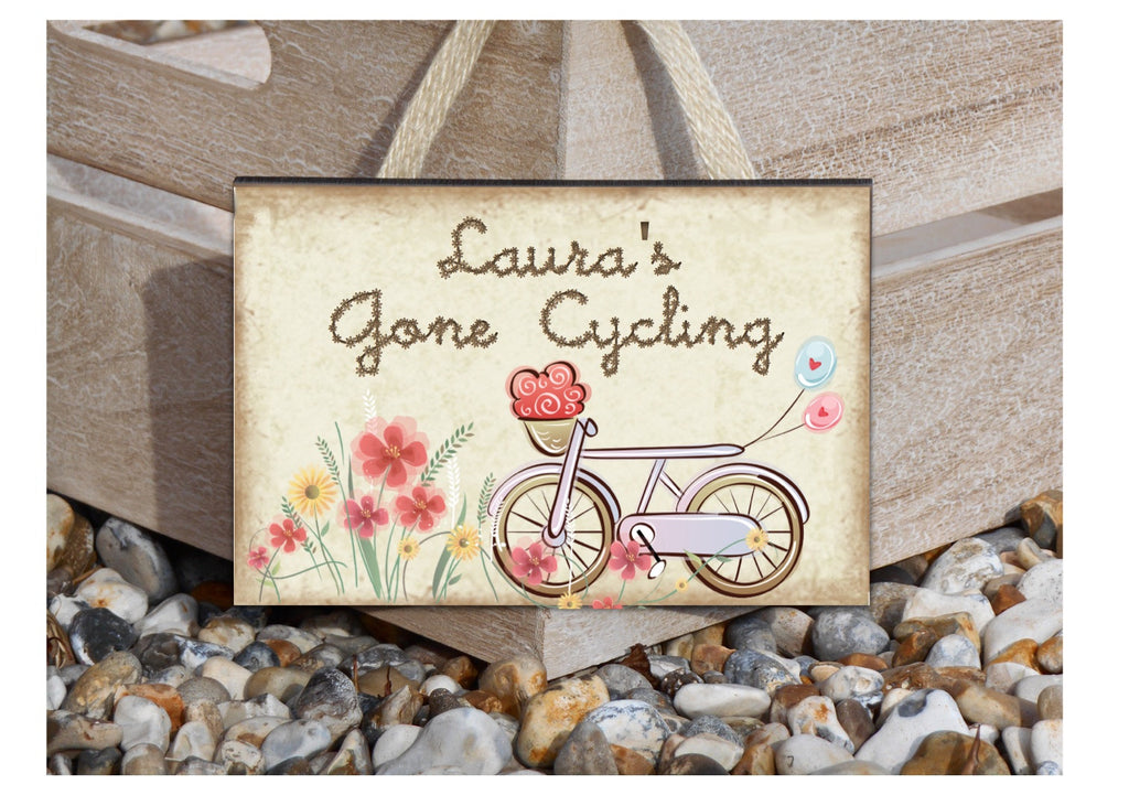 Gone Cycling Rustic Sign with Personalised Option Only at Honeymellow