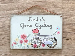 GONE CYCLING Rustic Sign: Personalised or Own Text Option