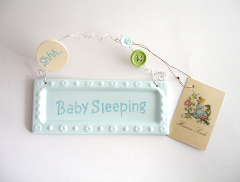 Baby Sleeping Door Sign in Pink or Blue