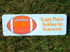 Personalise Rugby Player Children's Bedroom Door Sign.  Custom Made & Personalised at Honeymellow