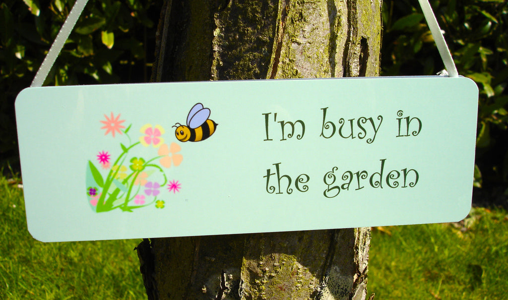 Busy Bee I'm in the Garden Green Hanging Sign at Honeymellow