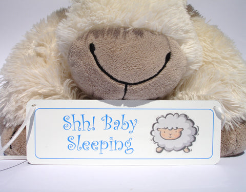 Baby Sleeping/Awake Hanging Personalised Plaque in Pink or Blue