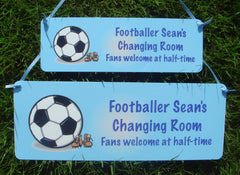 Large & Small Personalised Handmade Hanging Football Sign. Buy online at www.honeymellow.com