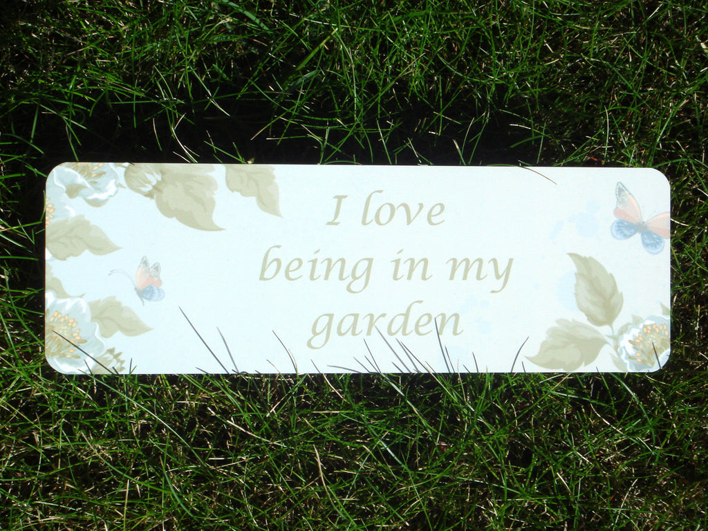 I love being in my garden vintage green sign: Buy online at Honeymellow