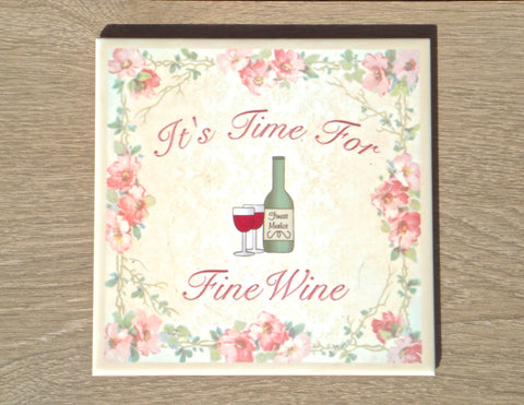 TIME FOR WINE Square Personalised Tile: Add Your Own Text
