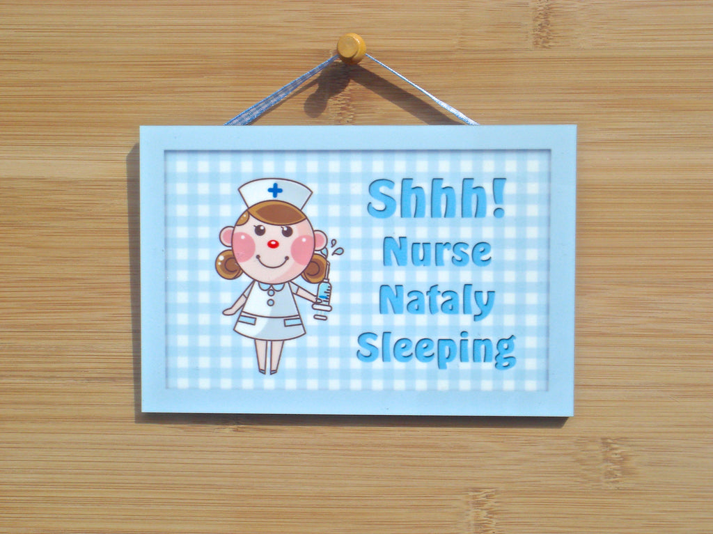 Shh! Nurse Sleeping Sign + Personalisd Custom Made Option: Buy Online at Honeymellow