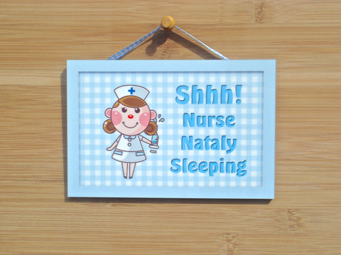 Nurse Sleeping Hanging Metal of Wood Sign: Add Own Text to Personalise