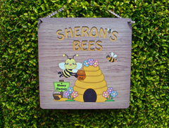 Personalised Metal Wood Effect Bee Sign: Custom Made at Honeymellow