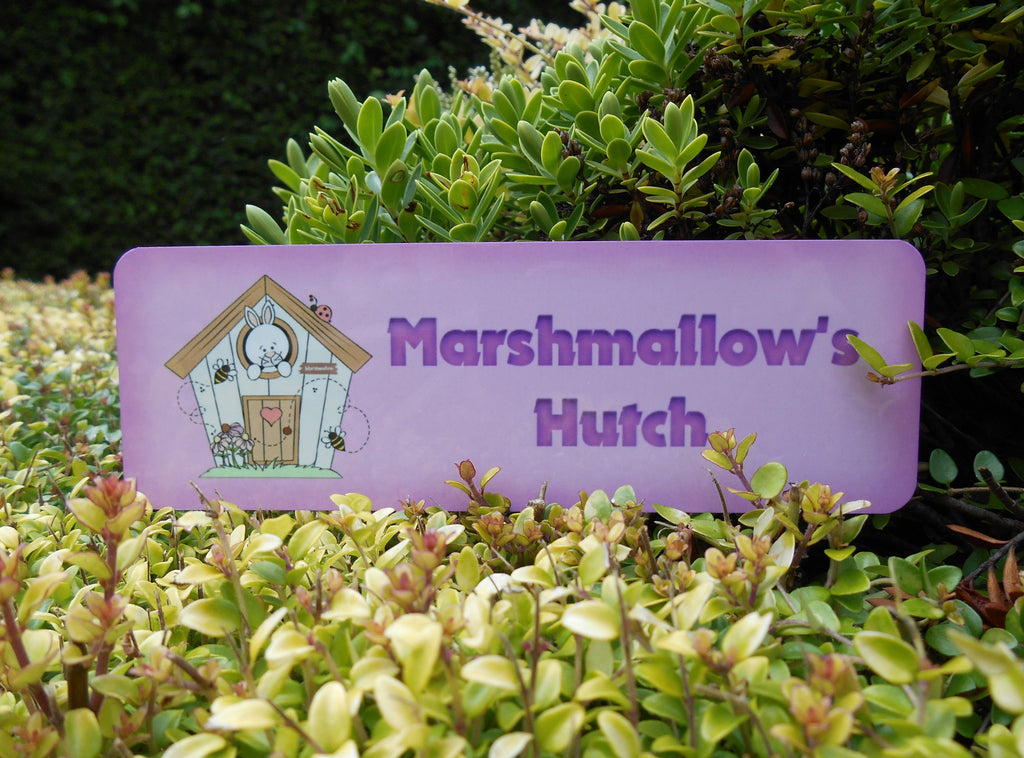 Colour personalised metal bespoke rabbit hutch name signs in cream, pink, blue and green. Buy online at www.honeymellow.com