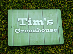 Man Cave, Shed, Summerhouse, Greenhouse Wood or Metal Personalised Sign at www.honeymellow.com