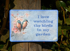 I love watching the birds in my garden hanging vintage sign at Honeymellow