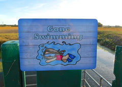 Gone Swimming Large Customised Hanging Sign at Honeymellow