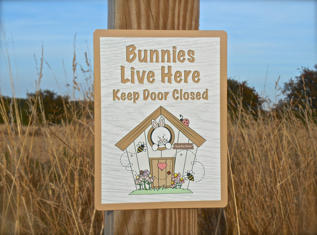 Bunnies live here custom-made handmade metal or wood sign at Honeymellow.com