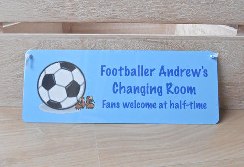 Personalised Football Bedroom Door Sign: Small or Large Sizes