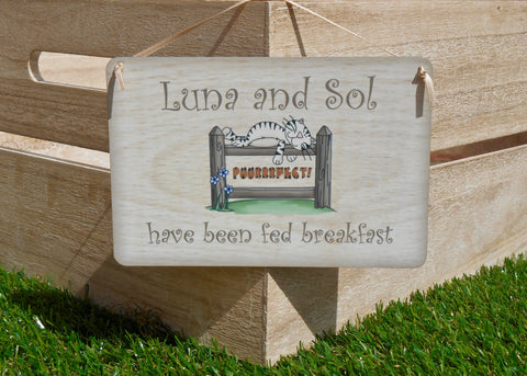 Cat has been fed/Not Fed Reversible Rustic Personalised Sign - Puurrfect!