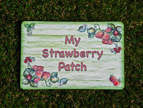 Pick Your Own Strawberries Sign Plus Personalised Option in Wood or Metal