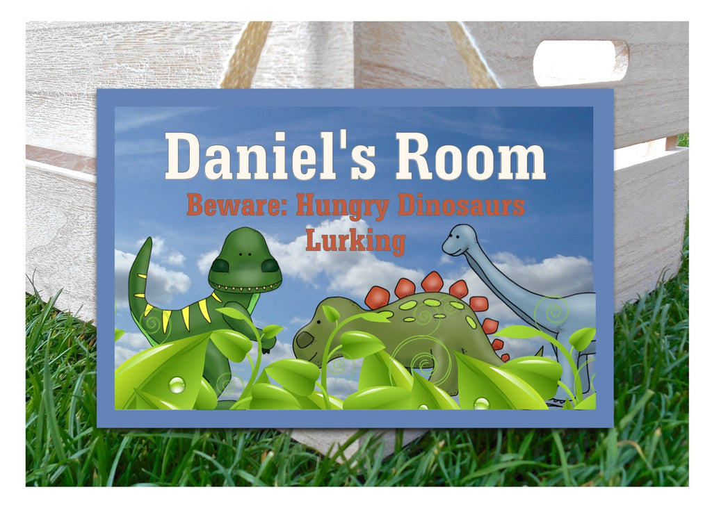 Dangerous Dinosaurs Colourful Children's Bedroom Sign: Buy online at www.honeymellow.com