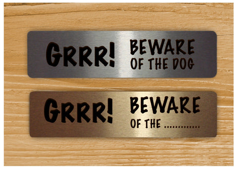 Grrr! Beware of the Dog Silver Gold or White Vital Sign