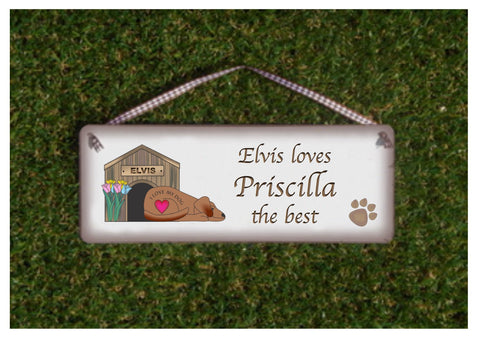 DOG LOVES ME BEST! Personalised Shabby Chic Sign / Fridge Magnet