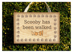 Dog has been walked hanging rustic wooden sign at www.honeymellow.com
