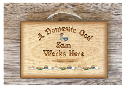 DOMESTIC GOD or GODDESS Works Here: Rustic Metal or Wood Sign