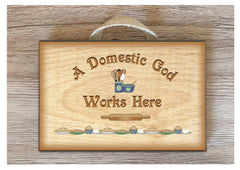Domestic God Works Here Personalised Wood Effect Rustic Metal or Wooden Kitchen Sign at www.honeymellow.com