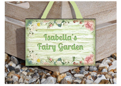 Add your text to our wood or metal fairy garden themed sign.  Handmade at www.honeymellow.com