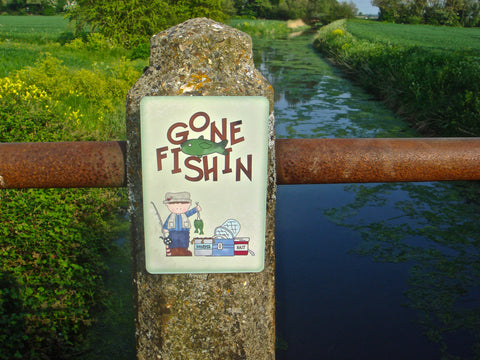 Gone Fishing Sign with Personalised Option in Wood or Metal