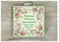 Add Your Own Text to Floral Fairy Sign in Wood or Metal