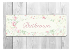 BATHROOM FLORAL COTTAGE CHIC SIGN AT HONEYMELLOW