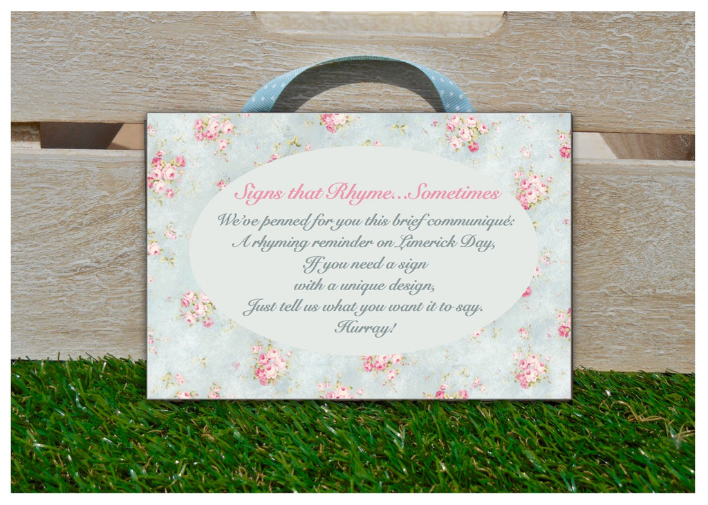 Add Your Own Text to Wood Floral Cottage Chic Blank Signs