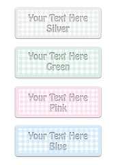 Gingham Signs in Pink, Grey, Green & Blue Personalise & Buy at Honeymellow