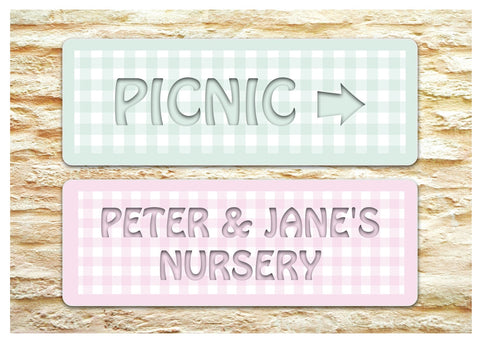 Add Text to Gingham Design Blank Signs in Silver, Green, Pink or Blue