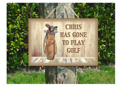 Gone to Play Golf Large Custom-Made Metal or Wood Hanging Sign at Honeymellow