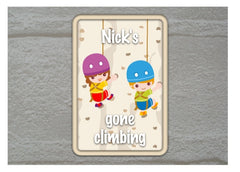 Gone Climbing Personalised Sign from Honeymellow