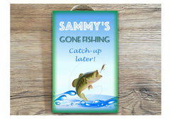 Gone fishing personalised sign in wood or metal at www.honeymellow.com