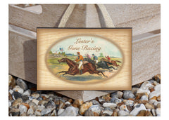 Gone Racing Hanging Handmade Sign.  Buy online at www.honeymellow.com
