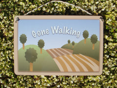 Gone Walking Personalised Sign in Wood or Metal Handmade at www.honeymellow.com
