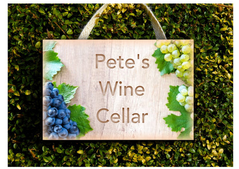 Add Text to our Grape Wood Effect Blank Sign in Wood or Metal
