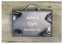 Wood or metal gym sign. Add your own text at www.honeymellow.com