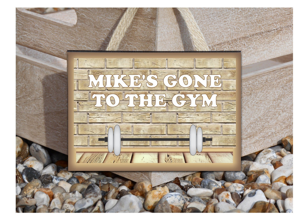 Gone to the Gym Large Custom-Made Hanging Sign at Honeymellow
