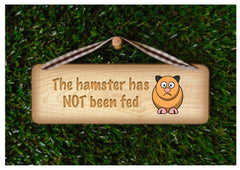 Hamster has been fed or not fed, reversible personalised pet sign handmade at www.honeymellow.com